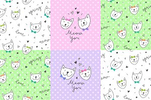 Cute Cats: 8 patterns + 2 cards