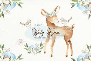 Baby Deer I Blue Watercolor Set