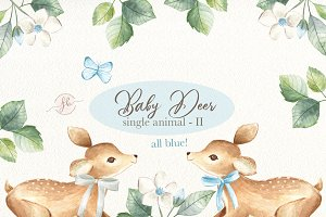 Baby Deer II- Blue Watercolor Set
