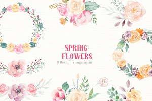 Spring Flowers- Watercolor set