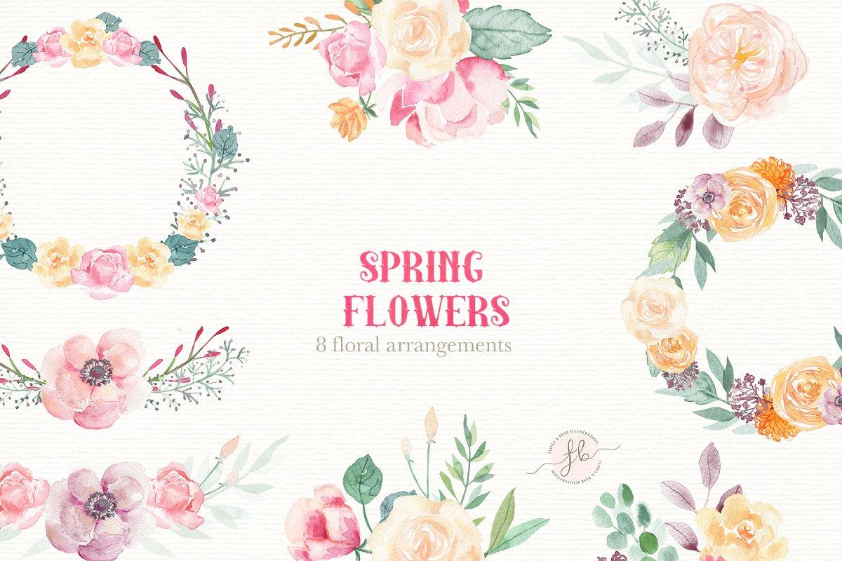 Spring Flowers Watercolor Set Illustrations Creative Market