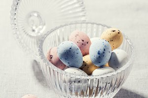 Chocolate speckled Easter eggs