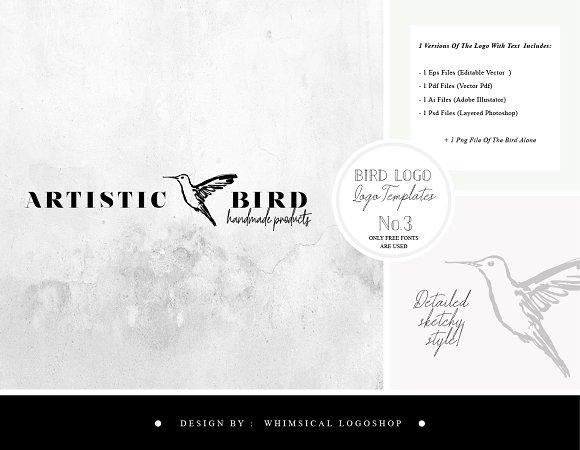 Bird Logo Sketchy Artistic Style 3