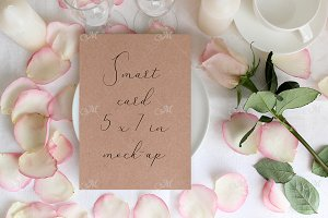 Table card Mockup with a Rose. PSD