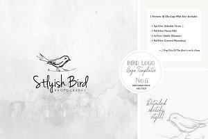 Bird Logo -Sketchy Artistic style 6