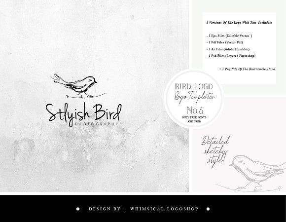 Bird Logo Sketchy Artistic Style 6