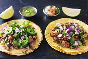 mexican tacos on slate