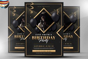 Gold Deco Birthday Party Template
