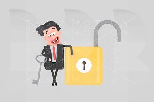 Businessman with opened padlock