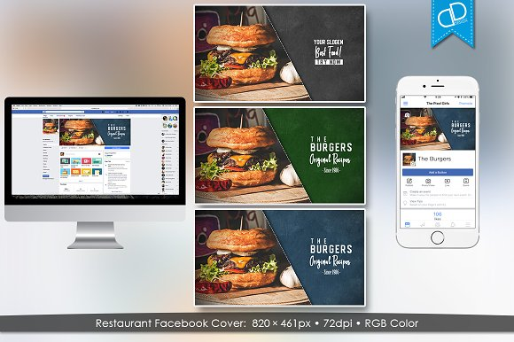 Restaurant Facebook Timeline Cover in Facebook Templates - product preview 1