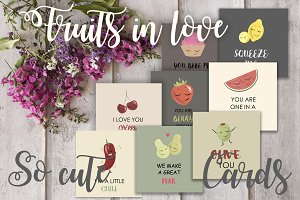 Fruits in love vector set