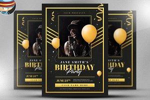 Gold Deco Birthday Flyer Template