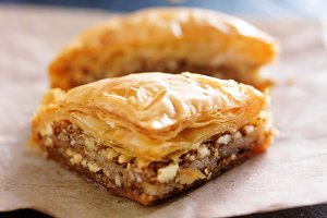 two pieces of baklava