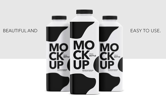 Milk Bottle Matte Mockup