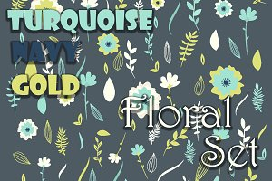 Turquoise-navy-gold floral set