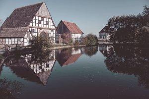 German village around a pond