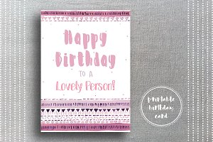 Tribal Birthday Card for Girls