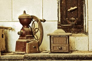 coffee grinders on old kitchen