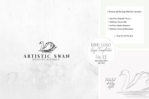 Bird Logo Artistic style Swan 13