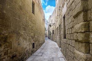 ancient bleak narrow medieval street
