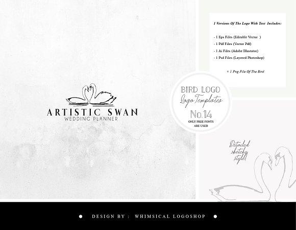 Bird Logo Artistic Style Swan 14