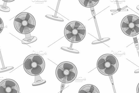 Seamless Pattern Of Electric Fan