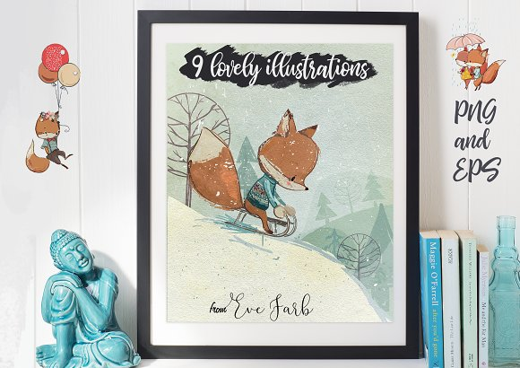 9 lovely illustrations-fox and fawn ~ Illustrations ~ Creative Market