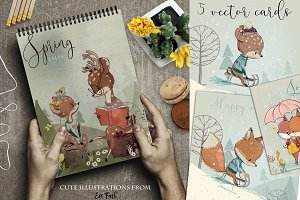 9 lovely illustrations-fox and fawn