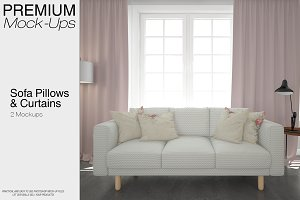 Sofa Pillows & Curtains Mockup Pack