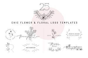 25 chic flower&floral logo template