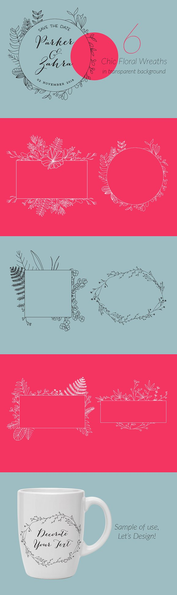 6 Chic Floral Wreaths Frame
