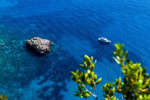 Top view of a boat in the sea