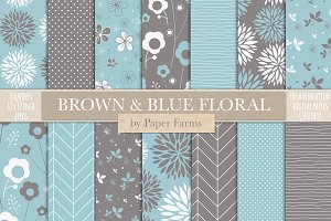Brown and blue floral backgrounds