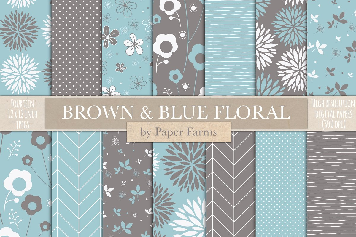 Brown And Blue Floral Backgrounds Custom Designed Graphic