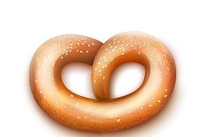 Single fresh pretzel
