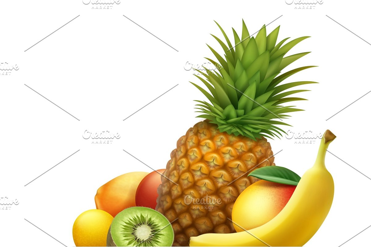 Plate full of tropical fruits