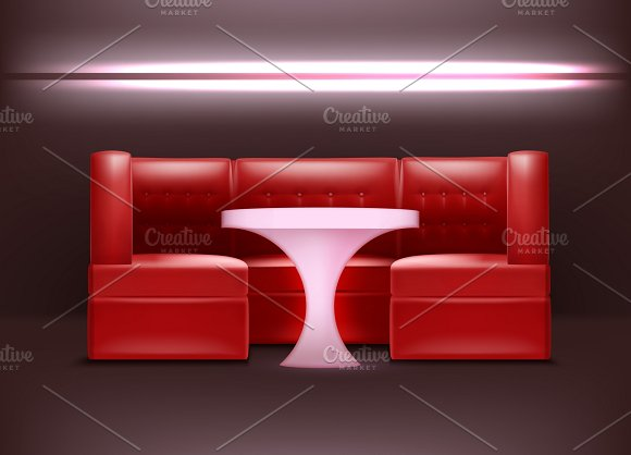 Night Club Interior In Red Colors