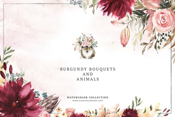 Burgundy Bouquets Animals