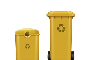 Set of yellow recycle bins