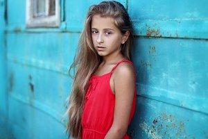 A teenage girl with beautiful hair
