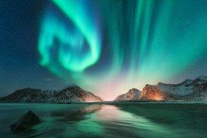Aurora borealis in Lofoten islands