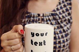 Close up mug of coffee MOCKUP