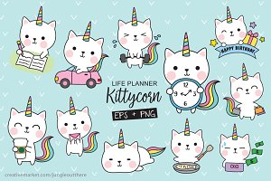 Caticorn Planner Set Vector and PNG