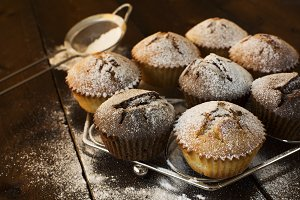 Muffins on metal stand.