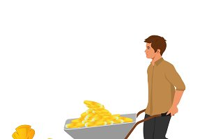 wheelbarrow and money bag, vector