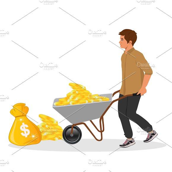 Wheelbarrow And Money Bag Vector