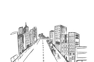 city in sketch style, vector