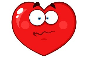 Worried Red Heart Cartoon Emoji Face