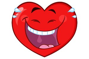 Laughing Red Heart Cartoon Character
