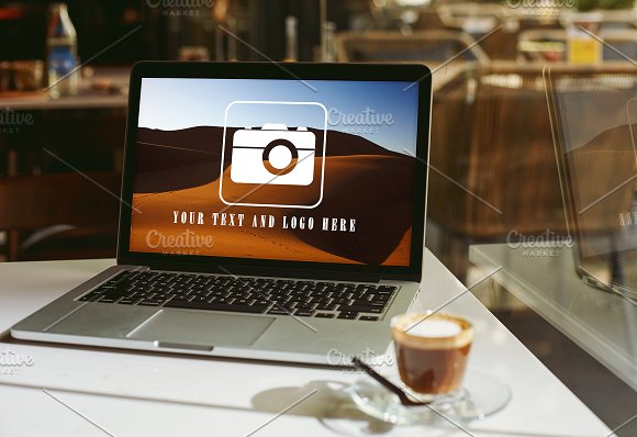 Modern Laptop And Coffee Cup MOCKUP